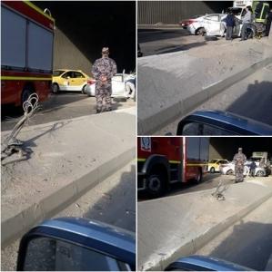.إصابة 4 أشخاص اثر حادث تدهور اسفل جسر ابو علندا في عمان