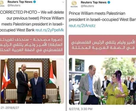 """خطأ غريب لـ""""رويترز"""" بسبب صورة الرئيس عباس والأمير وليام ..شاهد"""
