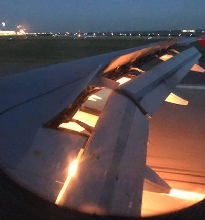 اشتعال النيران بجناح طائرة المنتخب السعودي في روسيا