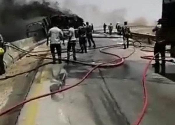 وفاة شخص اثر حادث تدهور صهريج في على الطريق الصحراوي