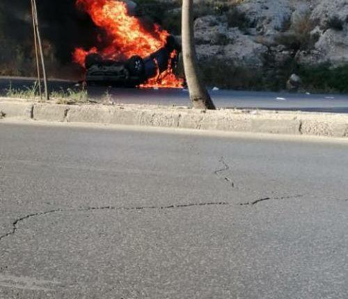 اشتعال مركبة  و إصابة 4 أشخاص في شارع الأردن