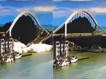 بالفيديو ..  شاهد لحظة انهيار جسر وإصابة 14 شخصاً في تايوان
