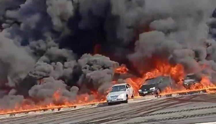 الصحة المصرية : ارتفاع حالات الإصابات بحريق طريق القاهرة – الإسماعيلية إلى 17 مصابا