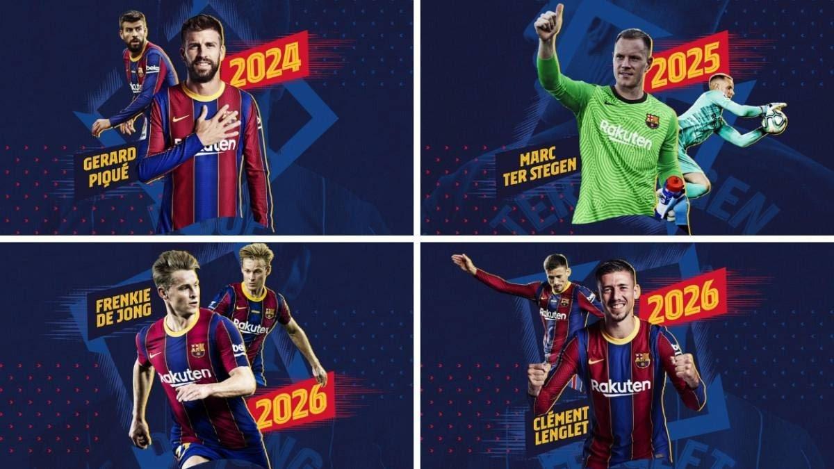 نادي  برشلونة يجدد عقود نجومه الأربعة دفعة واحدة