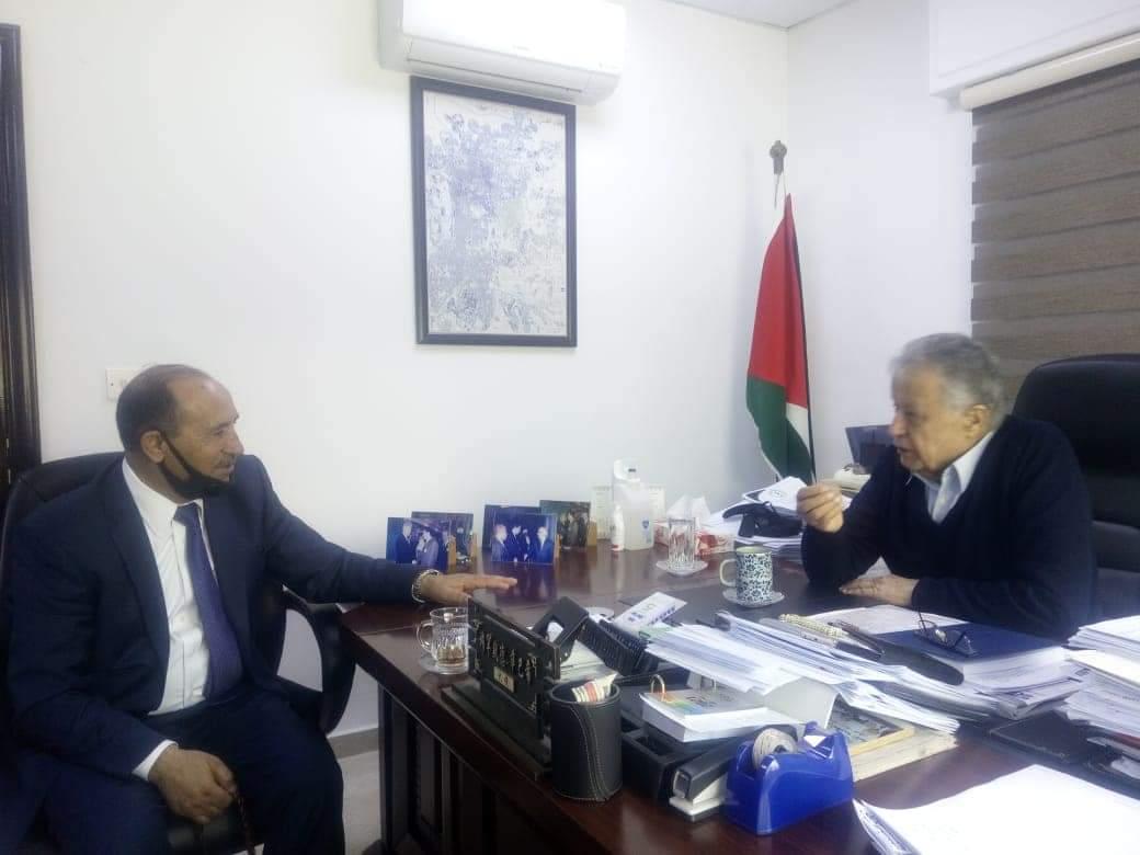 محمد صبيح أمين سرّ المجلس الوطني الفلسطيني يستقبل النائب الاسبق  محمد الشوابكه